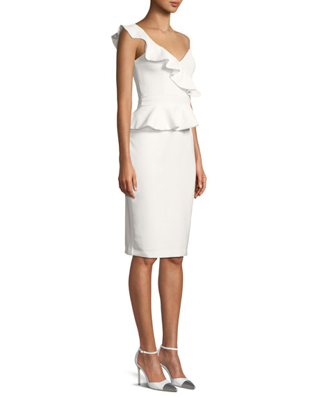 Camelia One-Shoulder Frill Midi Dress