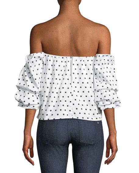 Polka-Dot Print Off-the-Shoulder Bustier