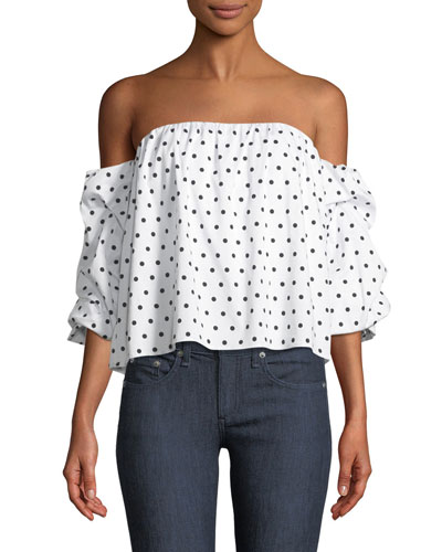 Polka-Dot Print Off-the-Shoulder Bustier