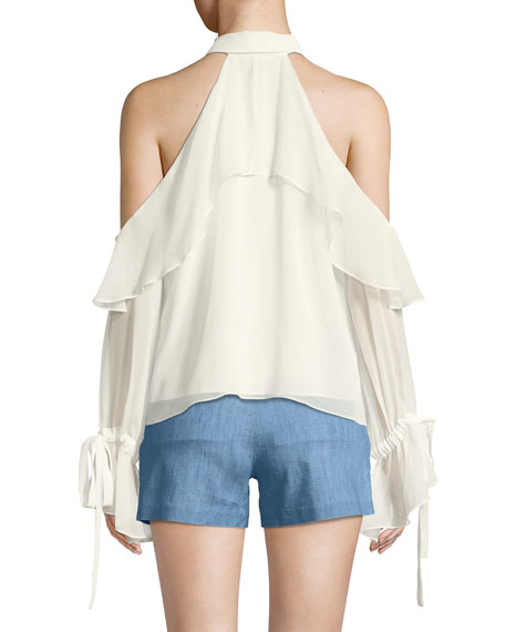Blayne Cold Shoulder Ruffle Blouse
