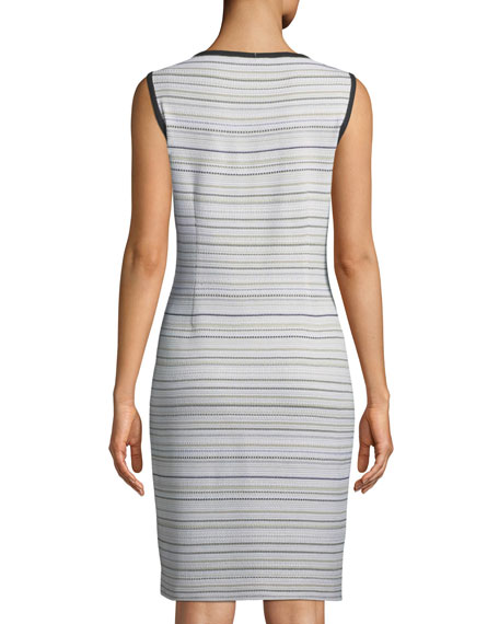 Neutral Striped Sleeveless Sheath Dress