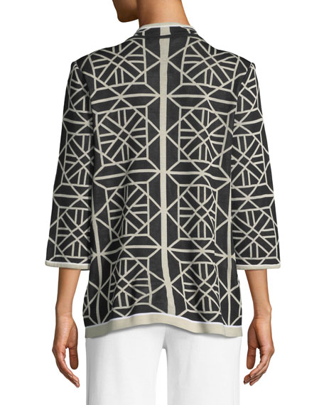 Geo Squares 3/4-Sleeve Jacket