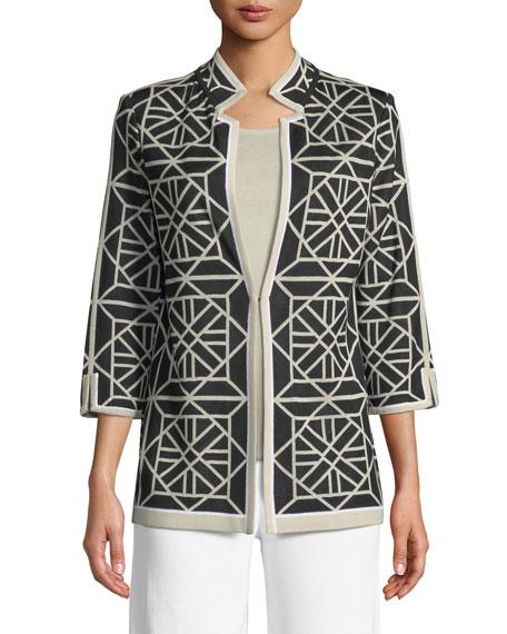 Geo Squares 3/4-Sleeve Jacket