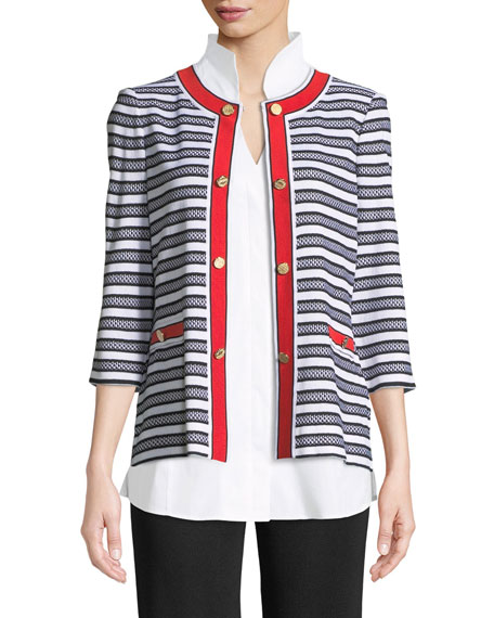 Button-Detail Striped Jacket with Pockets