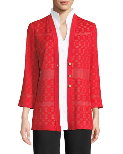 Subtly Sheer Button-Front Jacket, Plus Size