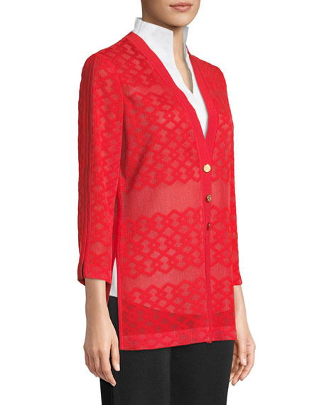 Subtly Sheer Button-Front Jacket
