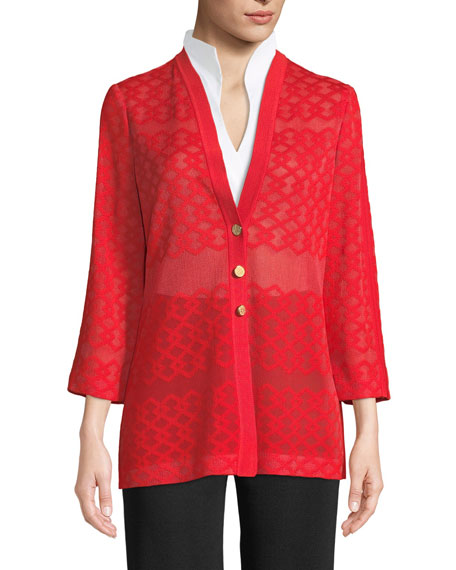 Subtly Sheer Button-Front Jacket