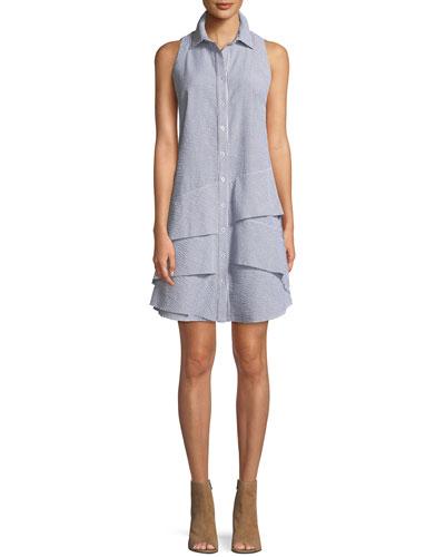 Jenna Sleeveless Striped Seersucker Dress