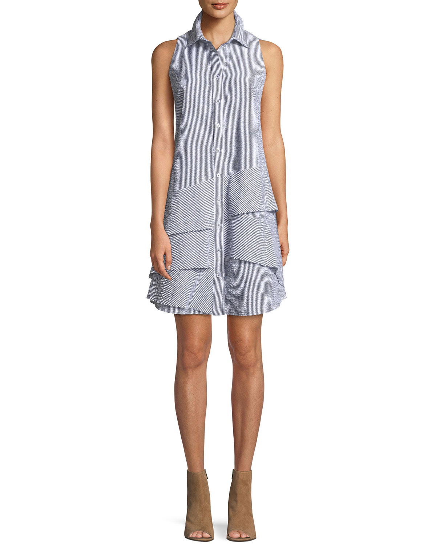 805438c1d3ff1 Finley Jenna Sleeveless Striped Seersucker Dress