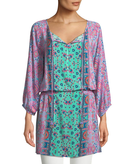 Tolani Portia Graphic-Print Silk Long Tunic and Matching