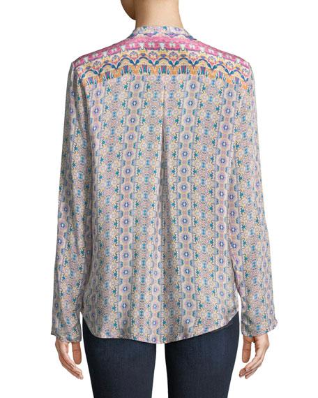 Iris Ikat-Print Silk Tunic