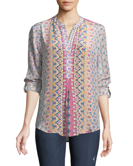 Tolani Iris Ikat-Print Silk Tunic