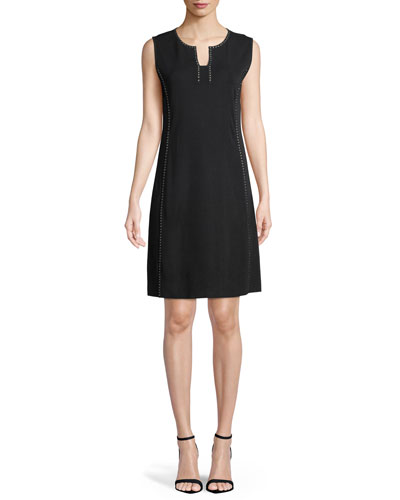 Sleeveless Stud-Trim A-line Dress