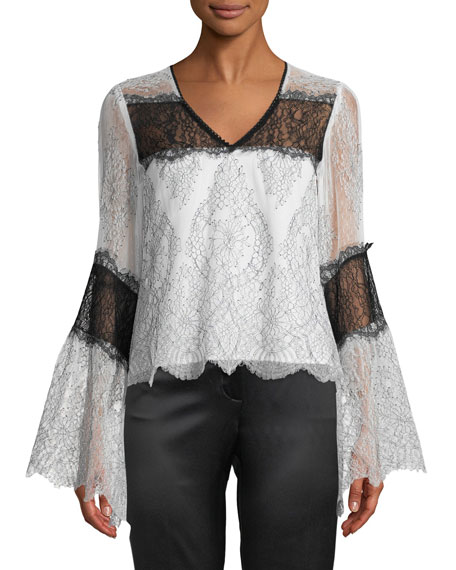 Nanette Lepore Chanteuse Sheer Lace Bell-Sleeve Top