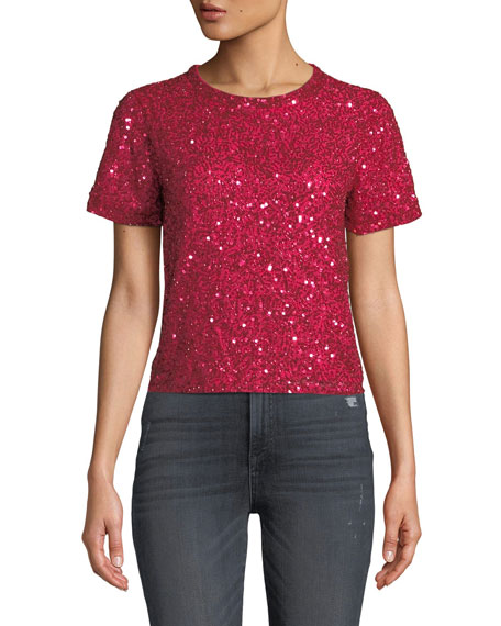 AO.LA by Alice+Olivia Piera Embellished Crewneck Tee