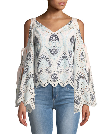 Nanette Lepore Dinner at Eight Cold-Shoulder Eyelet Top