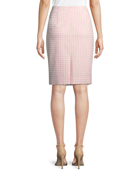 Posh Gingham Pencil Skirt