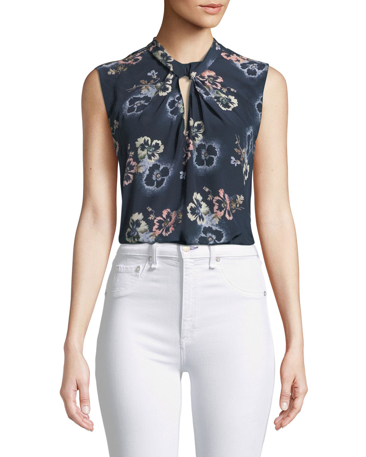 356143fee36970 Rebecca Taylor Silk Floral-Print Knot-Front Top
