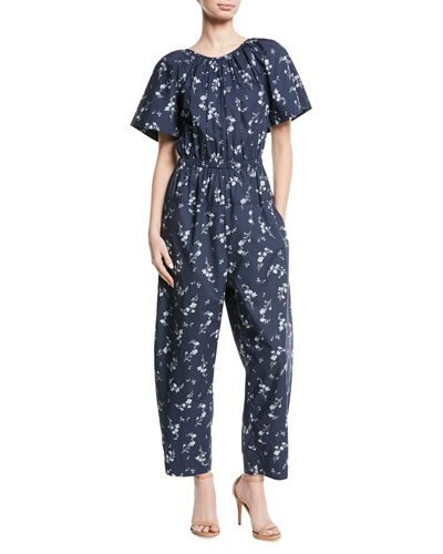 Francine Short-Sleeve Cape-Back Floral-Print Cotton Jumpsuit