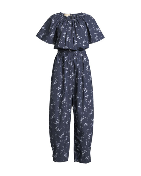 Francine Short-Sleeve Cape-Back Floral-Print Cotton Jumpsuit