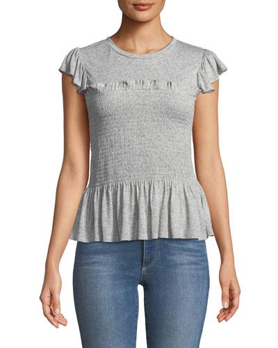 Smocked Short-Sleeve Ruffle Jersey Top