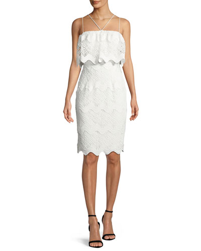 Gwendolyn Scalloped Lace Cocktail Sheath Dress
