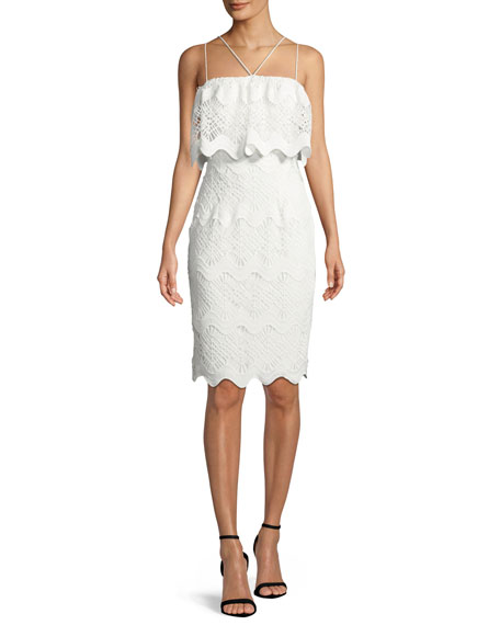 BLACK HALO Gwendolyn Scalloped Lace Cocktail Sheath Dress in White