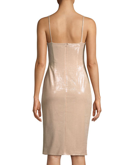 Bowery Shirred Metallic Sheath Cocktail Dress