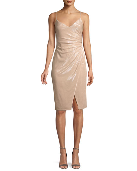 Black Halo Bowery Shirred Metallic Sheath Cocktail Dress
