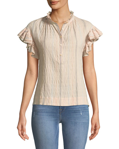 Striped Short-Sleeve Yarn-Dye Top