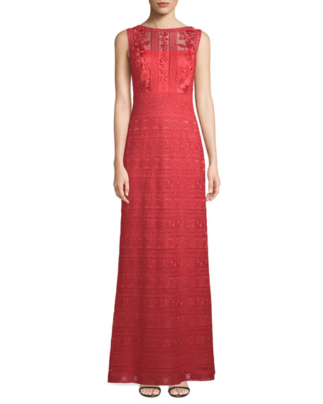 Embroidered Sleeveless Lace Gown