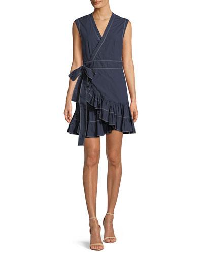 Sleeveless Poplin Ruffle Wrap Dress