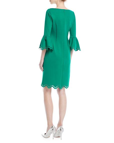Tulip-Sleeve Zigzag Sheath Cocktail Dress