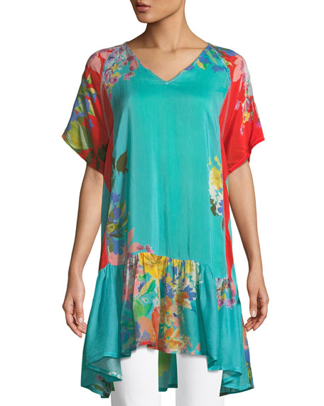 Johnny Was Happy Short-Sleeve Printed Flounce Tunic