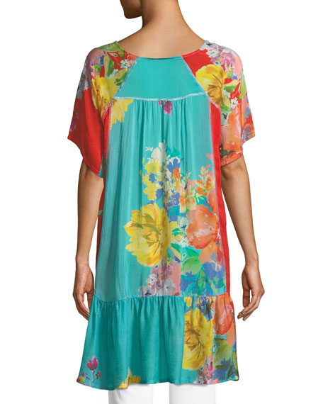Happy Short-Sleeve Printed Flounce Tunic, Plus Size