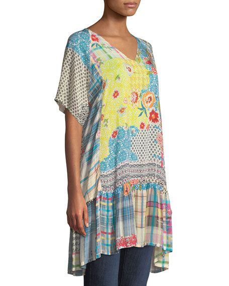 Happy Patchwork Georgette Tunic