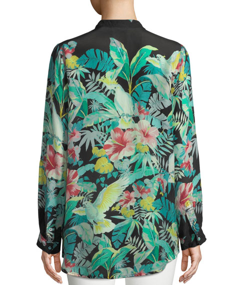 Solo Long-Sleeve Button-Front Tropical Blouse