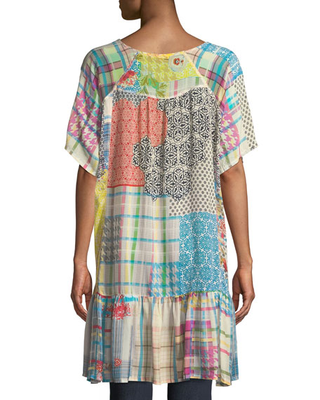 Happy Patchwork Georgette Tunic, Plus Size