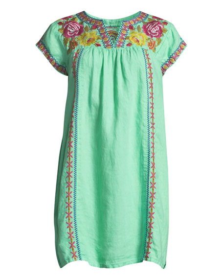 Vella V-Neck Embroidered Linen Shift Dress