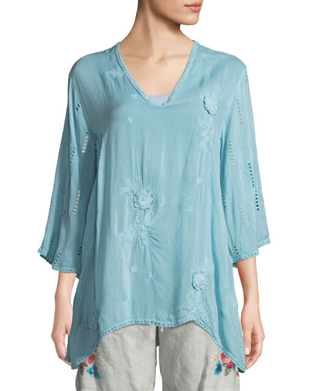 Johnny Was Chancy V-Neck Tunic w/Floral Embroidery, Plus