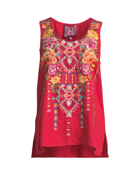 Vella Embroidered Linen Tank