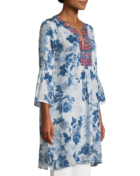 Flare-Sleeve Floral-Print Tunic