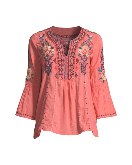 Marion Flare-Sleeve Embroidered Blouse