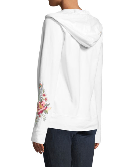 Vernazza Embroidered Zip-Front Hoodie Jacket, Plus Size