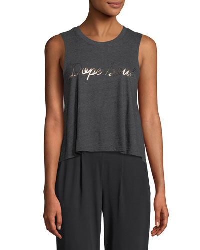 Dope Soul Foil Graphic Cropped Muscle Tank