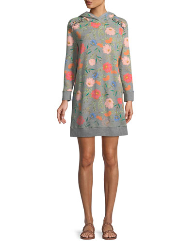 blossom long-sleeve hooded sweatshirt dress
