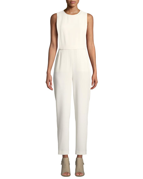 Theory Remaline Structured Sleeveless Admiral Crepe Jumpsuit
