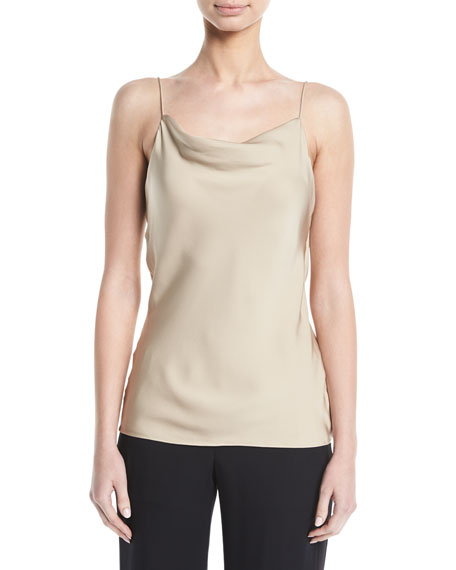 Modern Silk Georgette Cowl-Neck Draped Cami Top