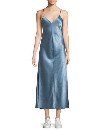 V-Neck Midi Slip Dress