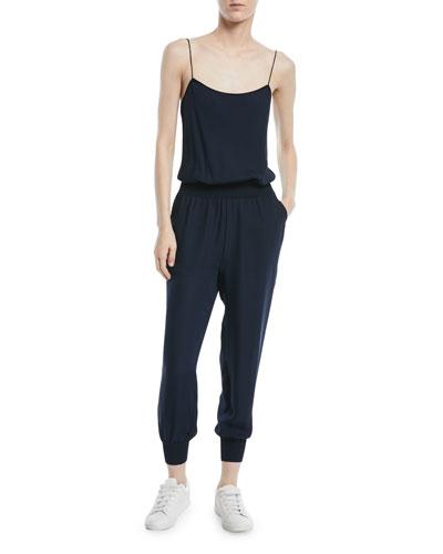 Silk Combo Sleeveless Jumpsuit
